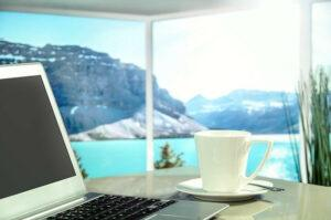 Computer, view of lake